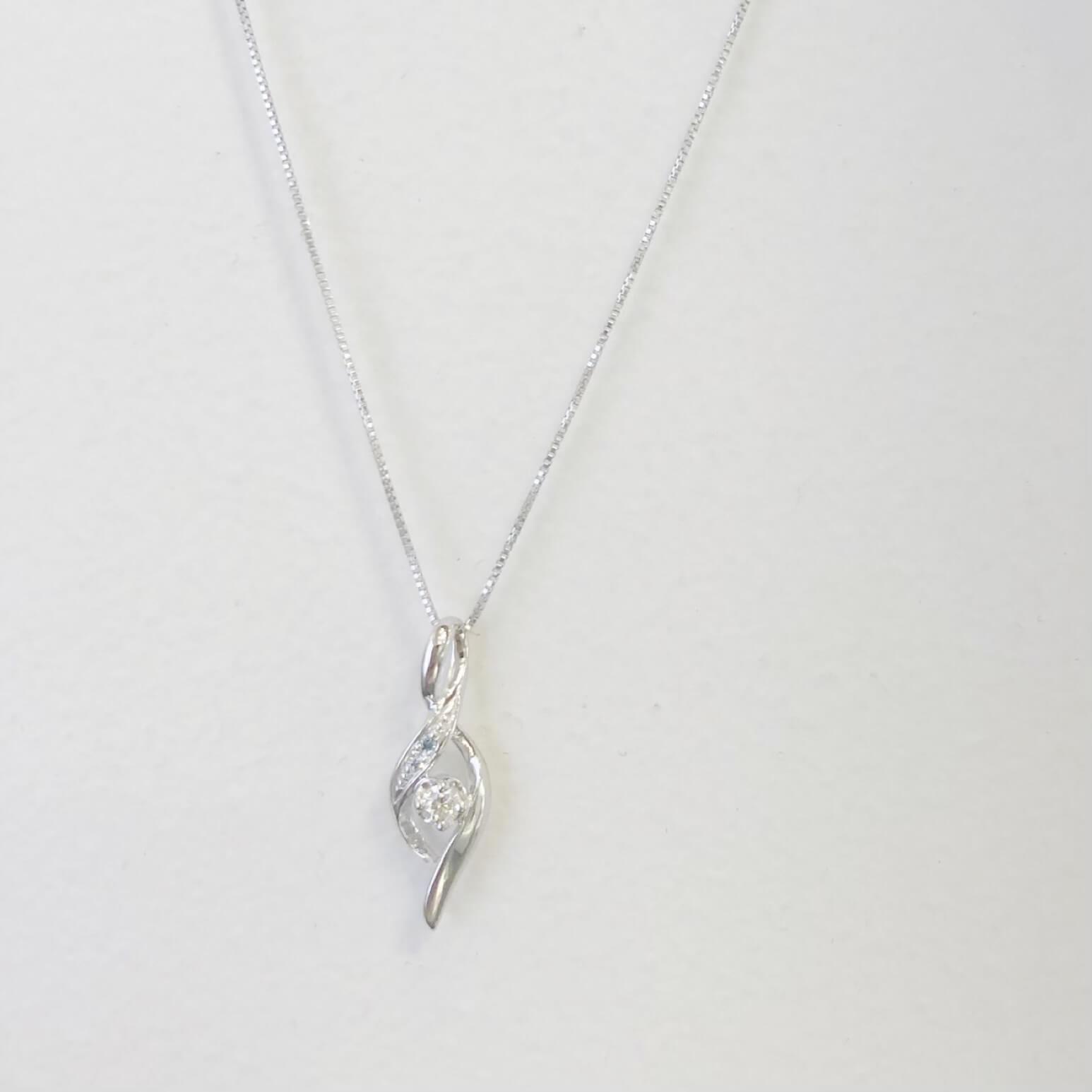 K10WG H&Cダイヤモンドネックレス